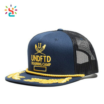 dc7cbd3a98 Custom Printed Embroidered Trucker Cap Gold Embroidery Patch Rope Trucker  Mesh Snapback Caps