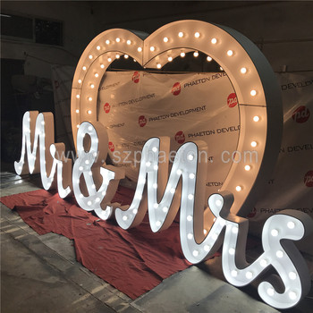 Romantic big cursive Mr & Mrs letter lights wedding letter lights led letter lights supplier