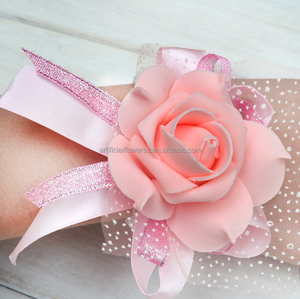7cm diameter foam satin wedding bridal wrist flower
