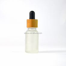 wooden bamboo cap frosted clear amber blue green glass dropper bottle 30 ml for essential oil