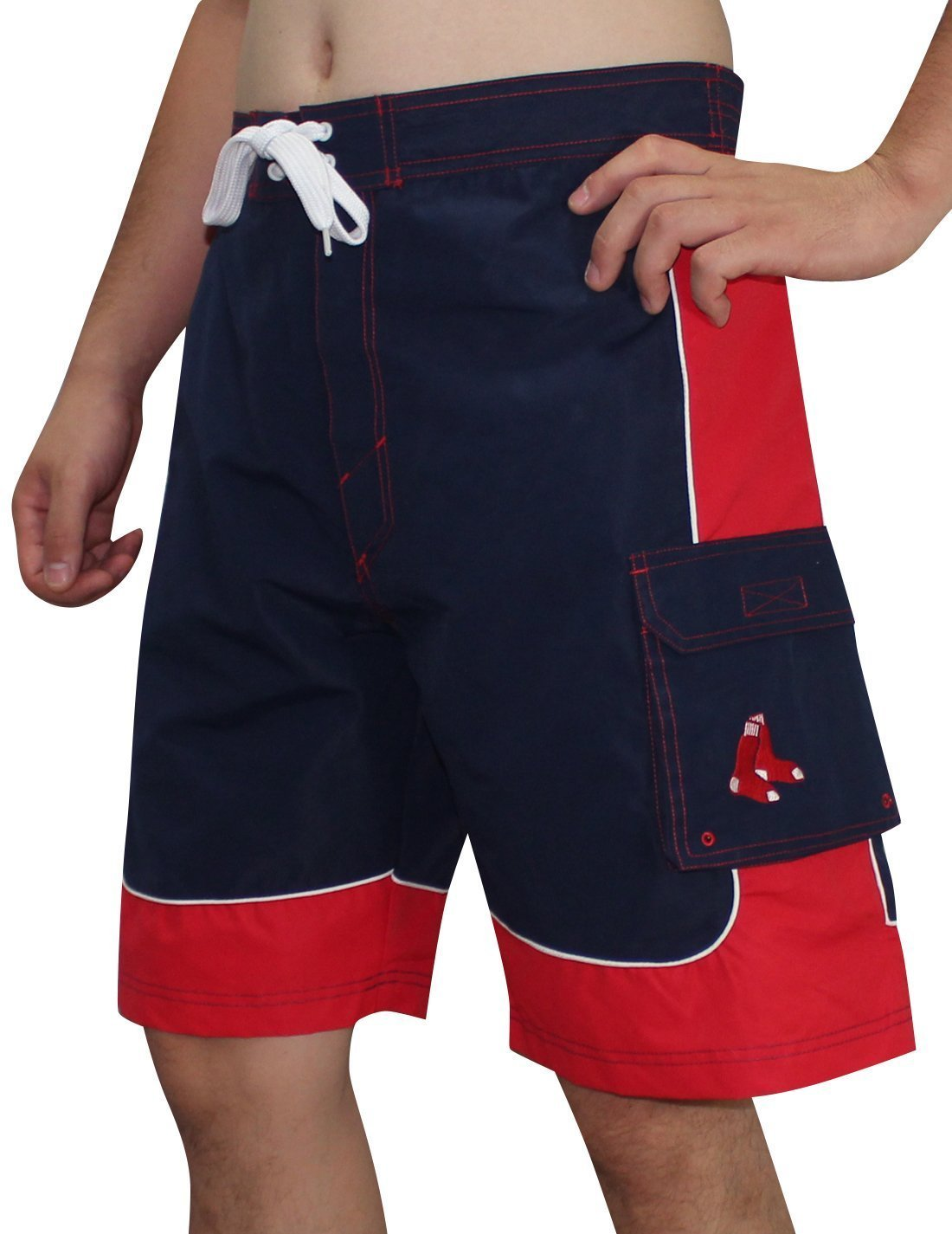 e240bfc830a9 Get Quotations · Mens MLB 2-Tone Boston Red Sox Athletic Sports Shorts with  Swim Lining - Large