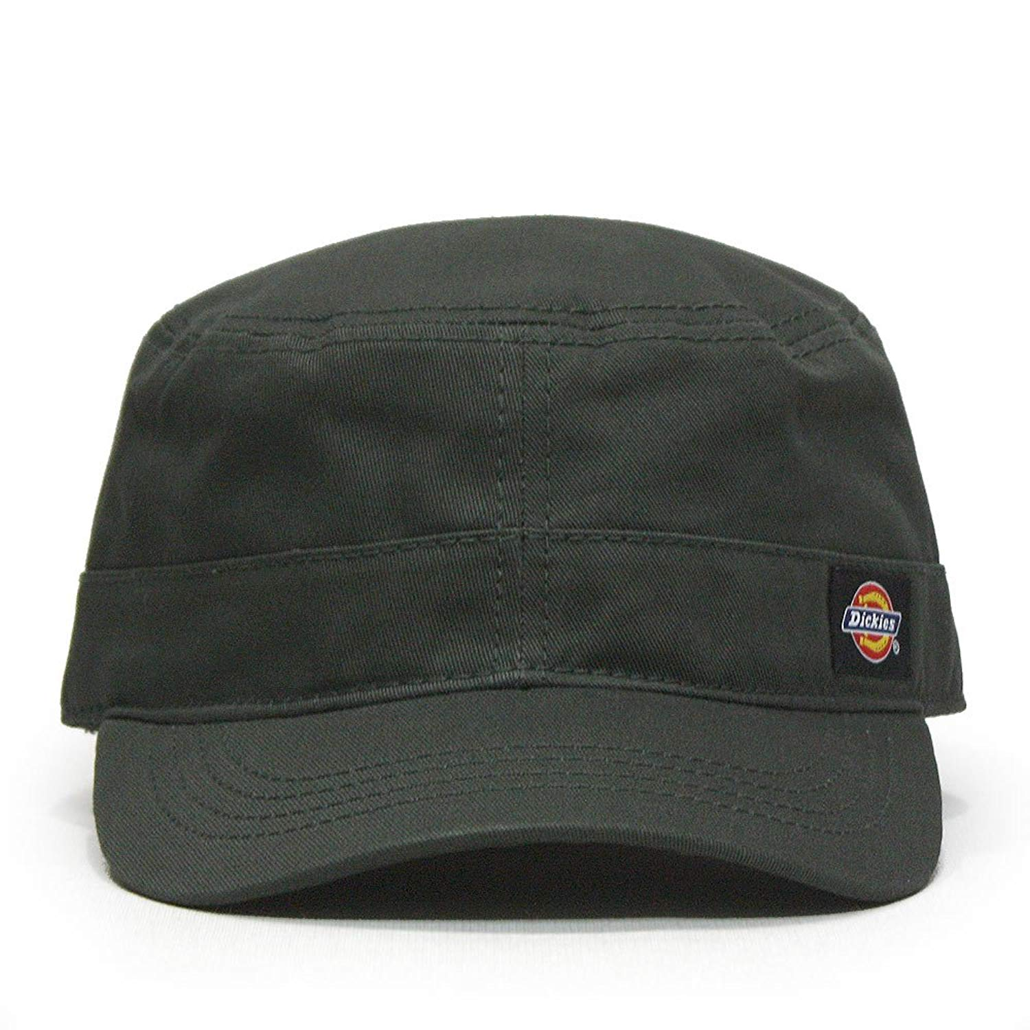 b1e3064c952 ... black plaid hat band and t... Get Quotations · Dickies Core Cotton  Canvas Fitted Cadet Military Radar Cap
