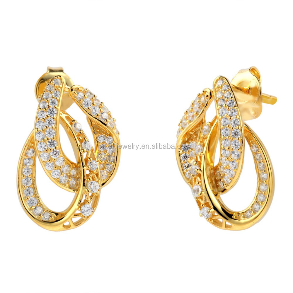 Saudi Gold Jewelry 18k Solid Gold Earring Unique Design Gold Stud