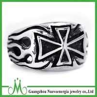 Hipster iron cross rings silver mens finger ring 316l stainless steel rings