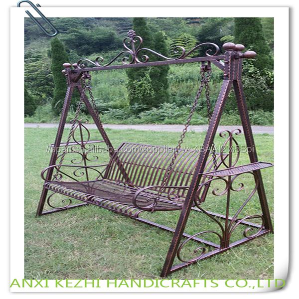 Interior de hierro forjado silla columpio al aire libre for Silla columpio