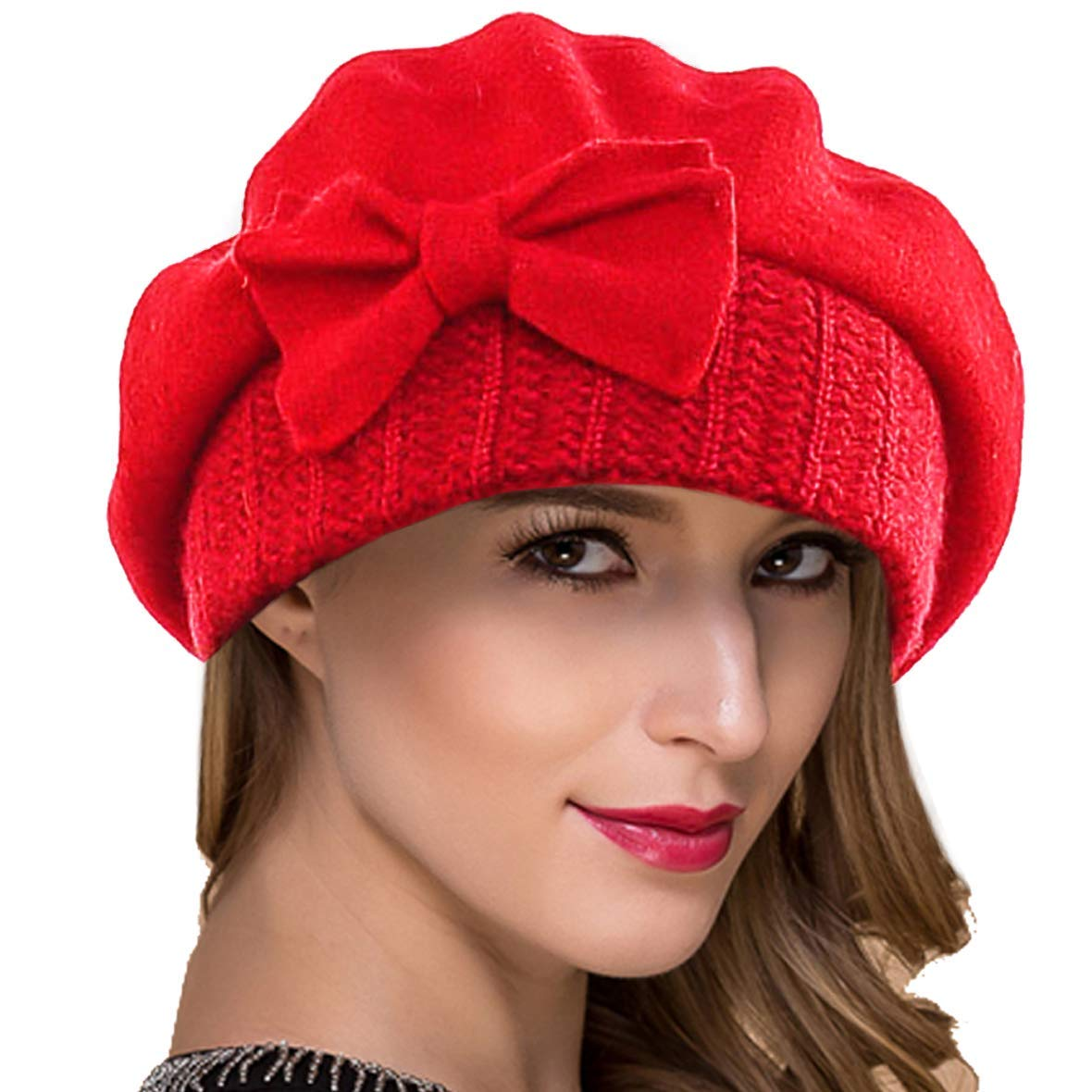 Get Quotations · Ruphedy Women French Beret Knit Wool Beret Beanie Winter  Hats Hy022 5fbb9d745aaa