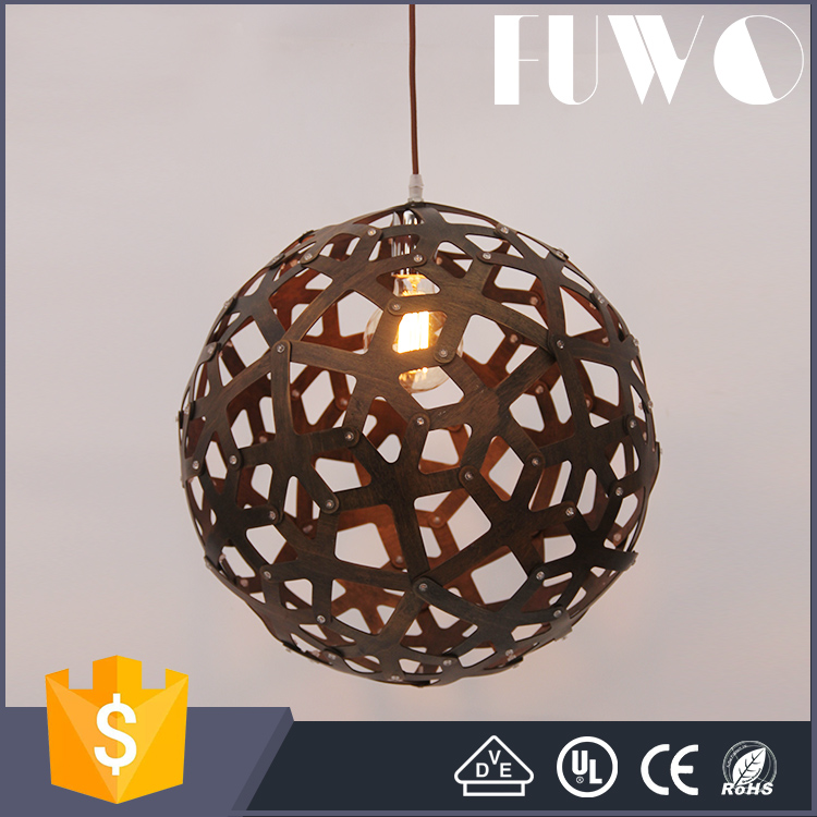 High quality and fast delivery furniture light supplier basewood wooden ceiling pendant lamp for hotel project lighting