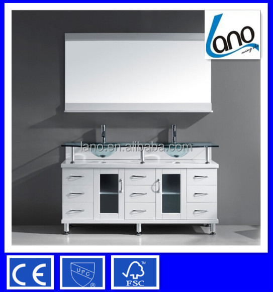 56 Inch Modern Free Standing Double Sink Bathroom Vanity In White Finish  With Tempered Glass