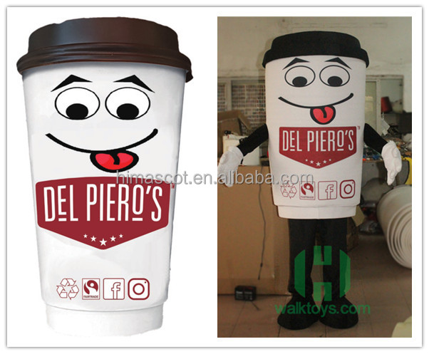 HI CE Advertising coffee cup mascot costumes custom mascot for commercial