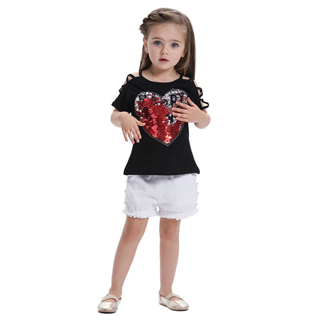 Moda Neonate Vestiti Vestiti Del Cuore di Amore Applique T shirt Top