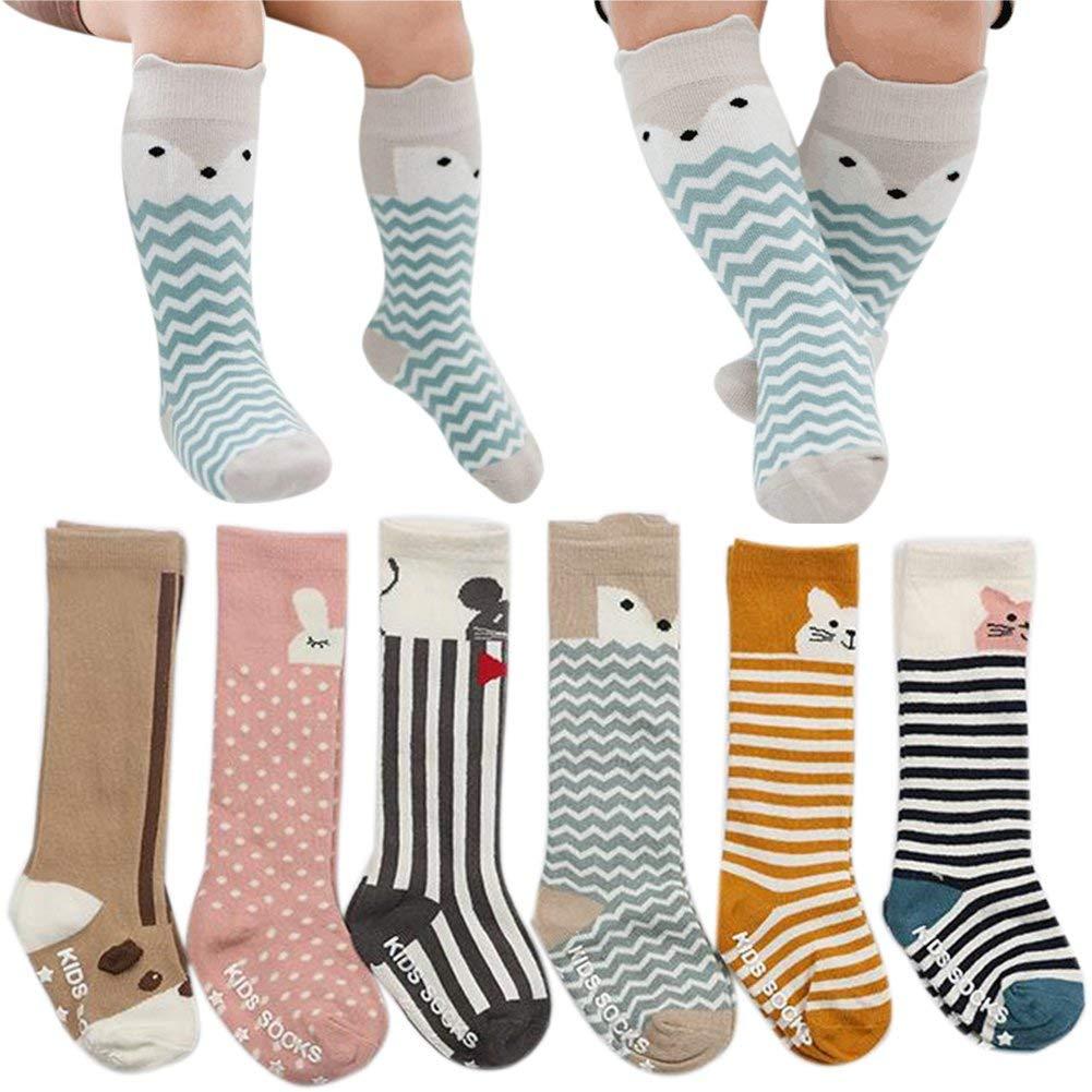 Baby Knee High Socks Girls Boys Toddler Uniform Cotton Non Skid Stockings