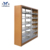 Powder Coating Knock Down Book Shelf Ergonomic Tube Double-column Steel Storage Heavy Duty Double Side Metal Library Bookshelf