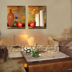 Hot Sale 2 Pieces Set Canavs Prints Red Apple Vase Flower Paiting Print on Canvas For Home Kitchen Wall Decor