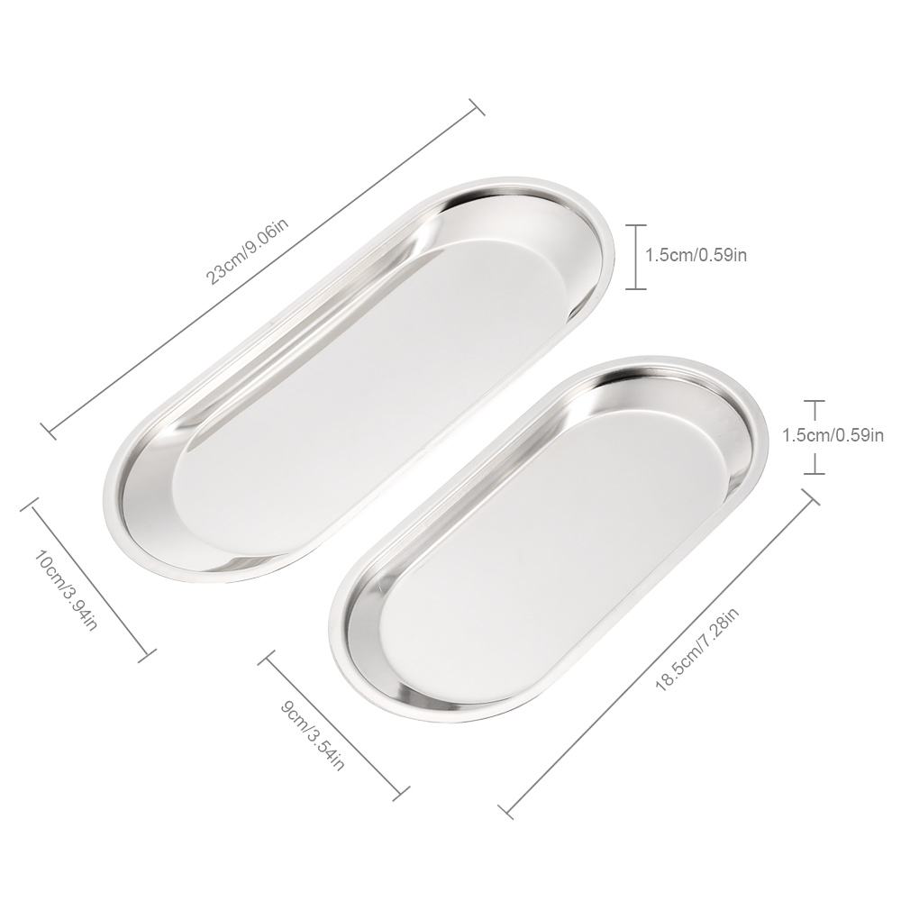 2pcs/set Stainless Steel Tray Biscuit Fruit Trays Guest Towel Organizer Amenity Tray on Bathroom Countertop Kitchen Accessories