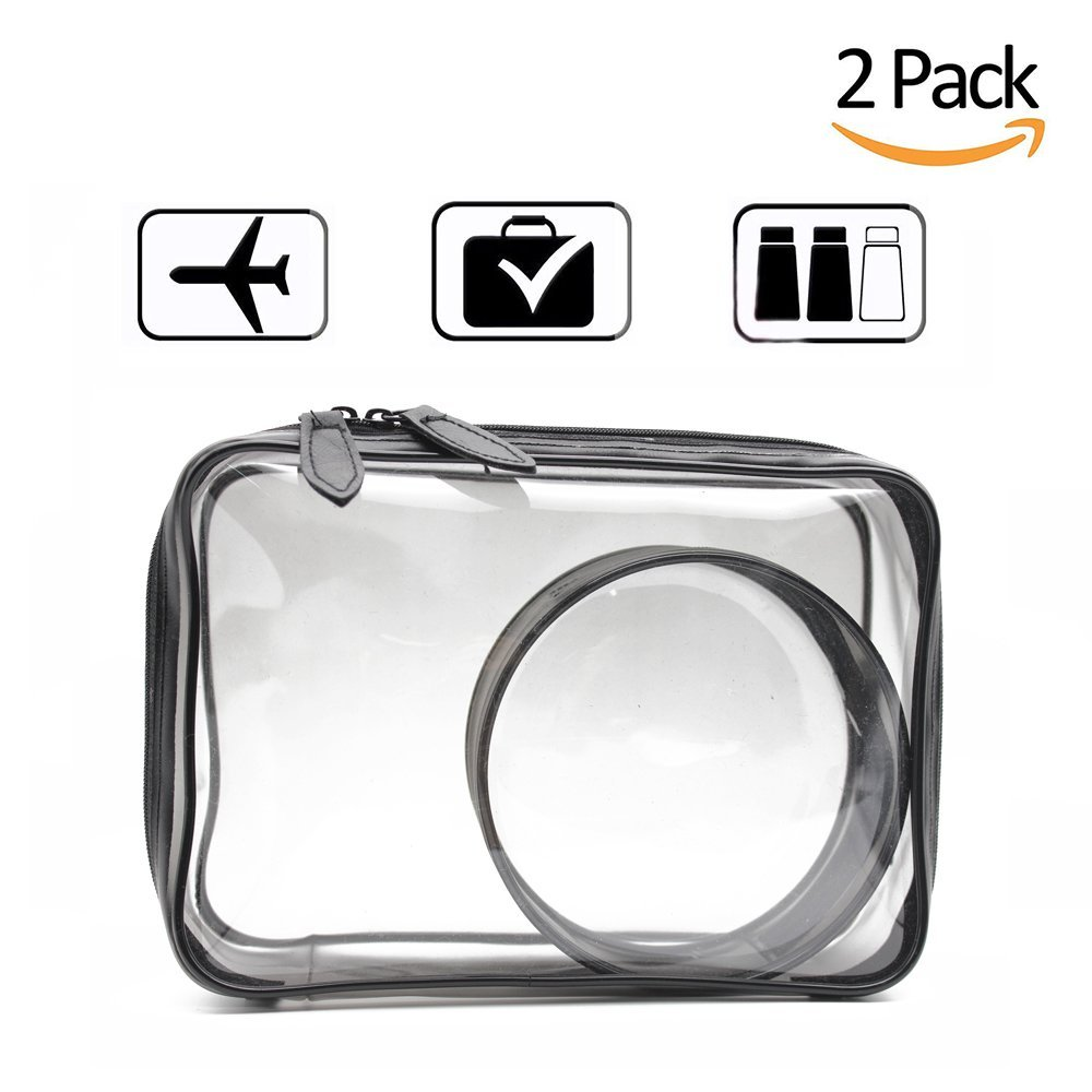 5dec70565384 Get Quotations · Mziart 2 Pack Clear Toiletry Bag