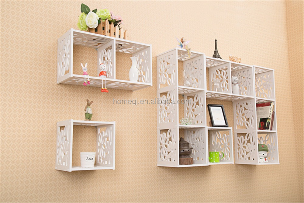 GJ-GZG00 DIY cube wall shelf design racks collapsible CD storage box floating zig zag adjustable wall mount shelf