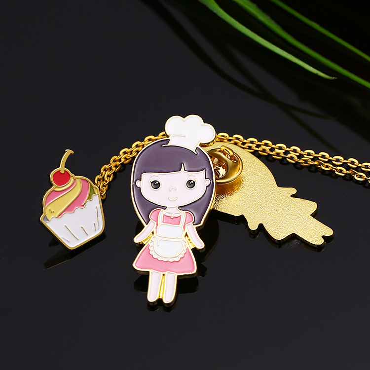 China factory custom die struck gold metal enamel girls lapel pin with necklace