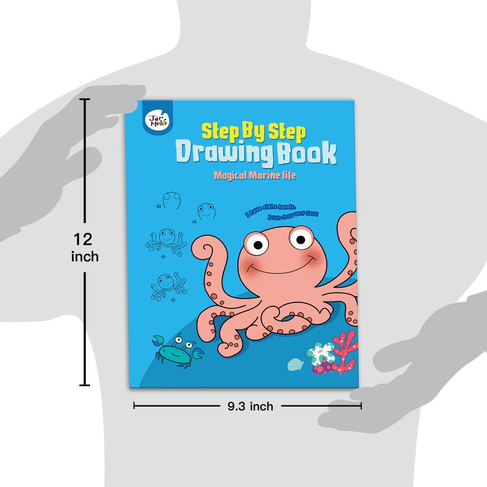 कदम कदम ड्राइंग किताब-जादुई समुद्री जीवन डूडल पुस्तक द्वारा बच्चों के लिए