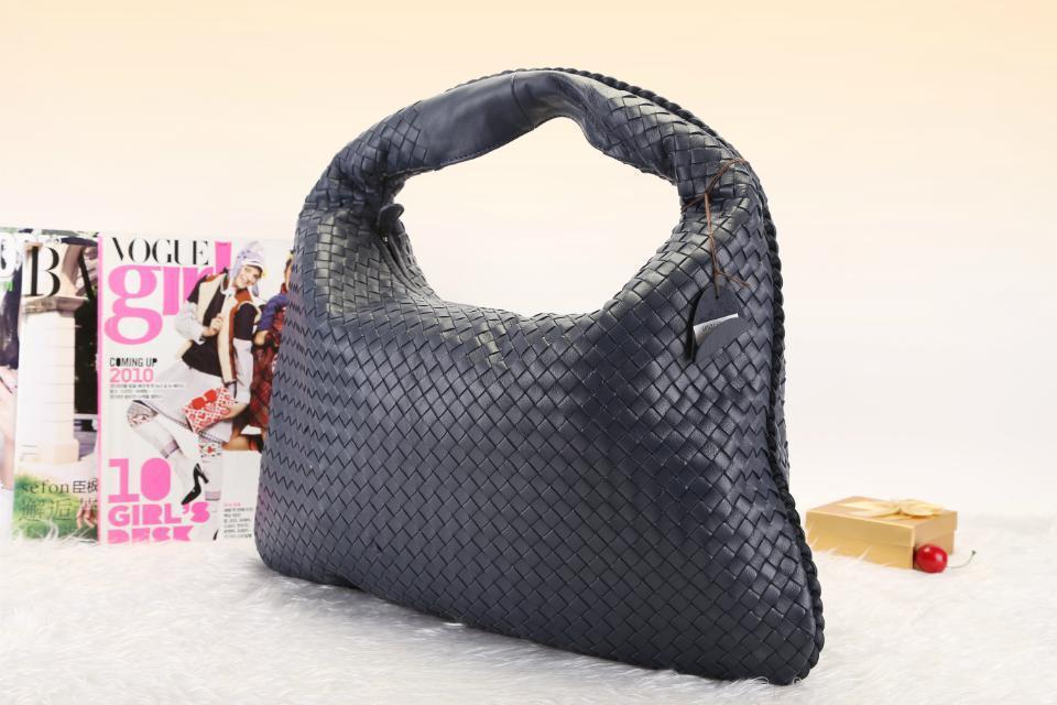 00019ad61d Get Quotations · Night Blue Hobo Bag Shoulder Bags SheepSkin Knitted  50x32cm Genuine Leather Handbags Women Bag Designer Handbag