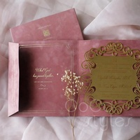 Cocostyles custom de luxe laser cut gold mirror acrylic invitation with foiling velvet envelope for fantasy wedding Black Friday