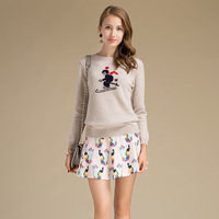 Flying Tiger Sweater Machine Knit Winter Worsted Wool Sweater With Cartoon Pattern