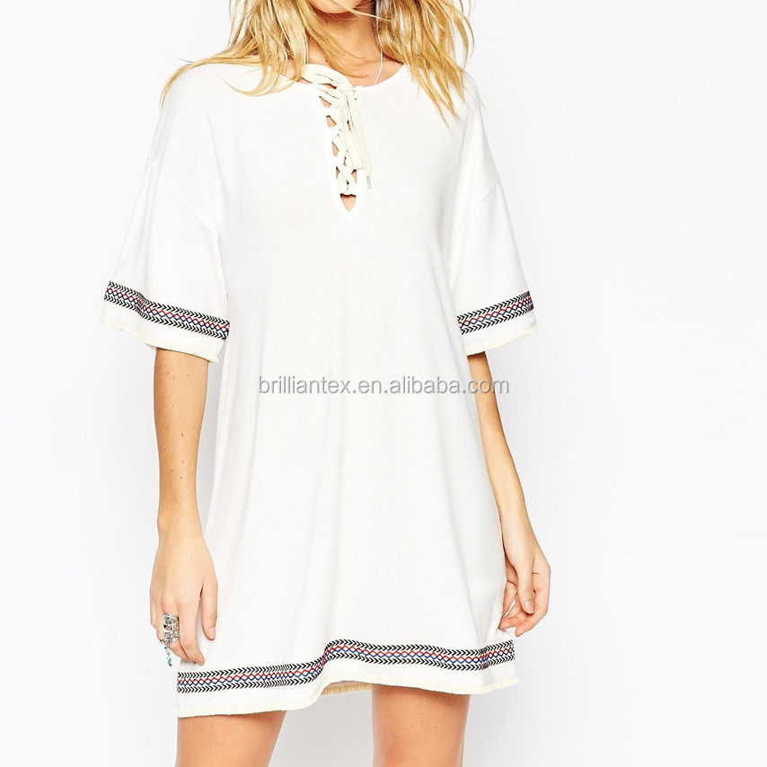 Factory Price Bulk Cheap Lace up Neck Casual Girl Dress With Embroidery Trim