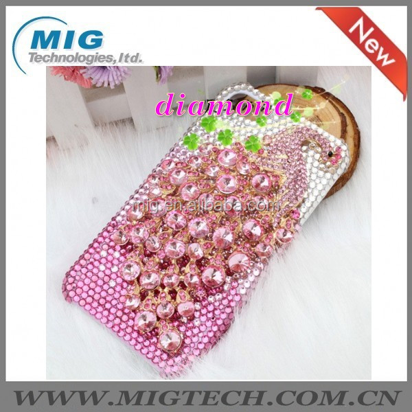 New Product Plastic Peacock Crystal bling diamonds case for iphone 4 4S 5 5S, cell phone case for Iphone 5S 9 Colors