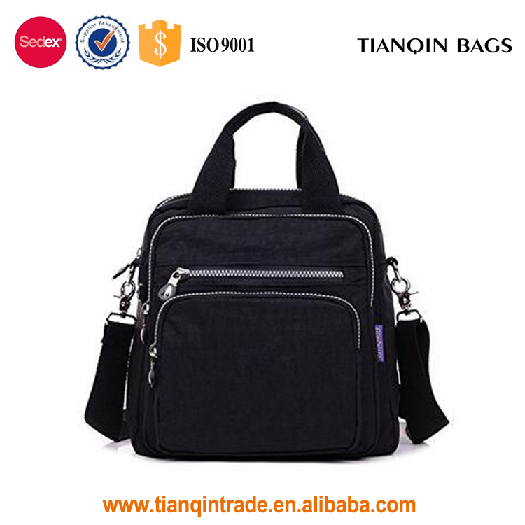 Water Resistant Multifunction Durable Polyester Crossbody Top Handle Black Handbag for Women & Girls
