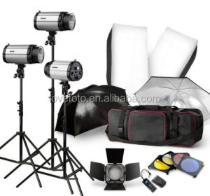 Strobe Studio Flash Light Kit 750W - Photographic Lighting - Strobes, Barn Doors, Light Stands, Triggers, Umbrellas, Soft Box