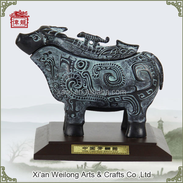 Chinese arts and craft antique Ox shape bronze sculpture