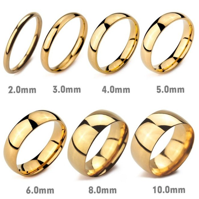 2mm 10mm Width High Mirror Polish Wedding Band Stainless Steel Chinese Gold Rings For Men