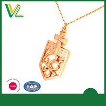Best Selling New Die casting Rose Gold Love Shiny Crystal Accessory Necklaces Chain for women pendant