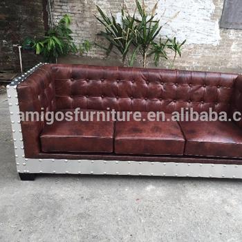 Night Club Formal Leather Sofa Vintage