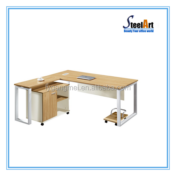 Executive wood office table design with cabinet and CPU stand for sale