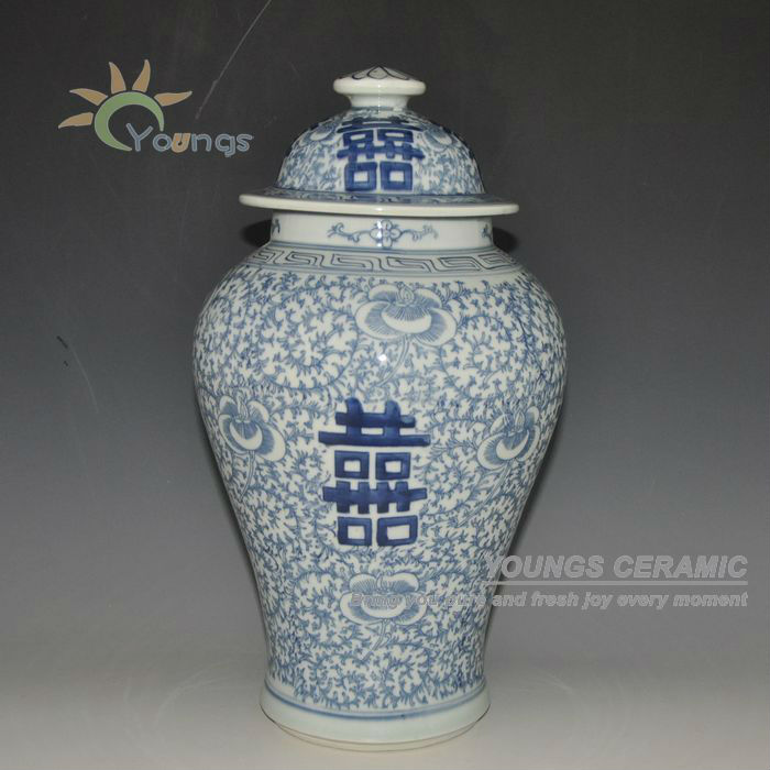 Antique Chinese Blue And White Porcelain Double Hiness Ginger Jar