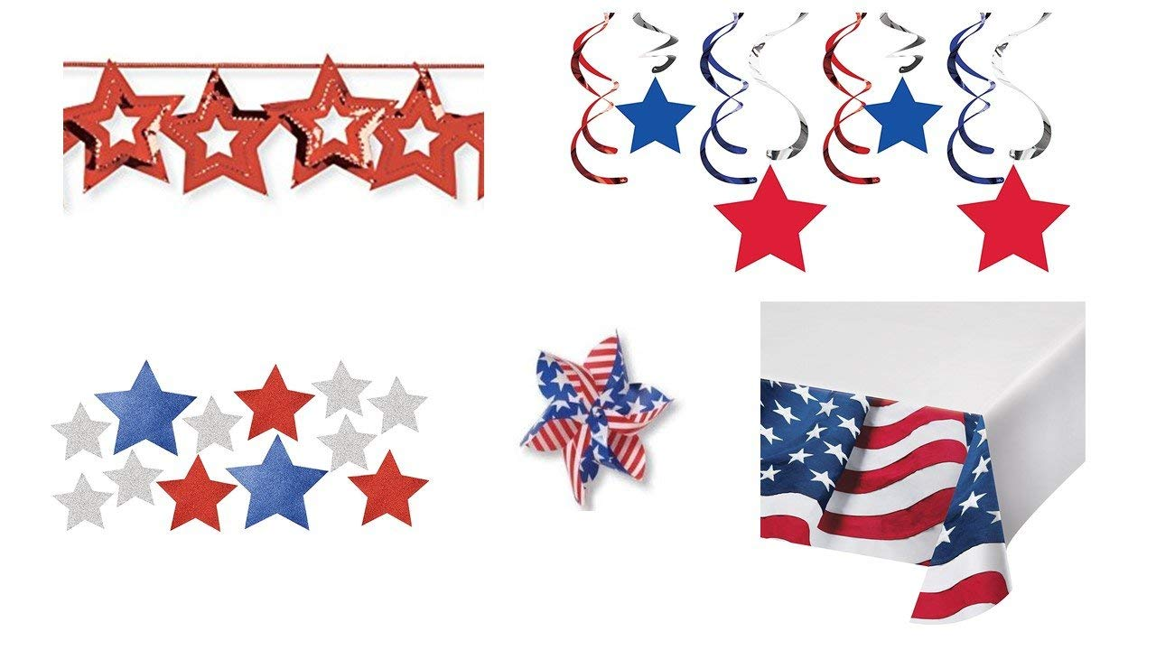 """Patriotic Red, White & Blue, July 4th Decoration Bundle - (1) Flag Border Table Cover, (12) Glitter Stars, (1) Assortment Dizzy Danglers, (4) American Flag 13"""" Long Pinwheels & (1) 9ft Star Garland"""
