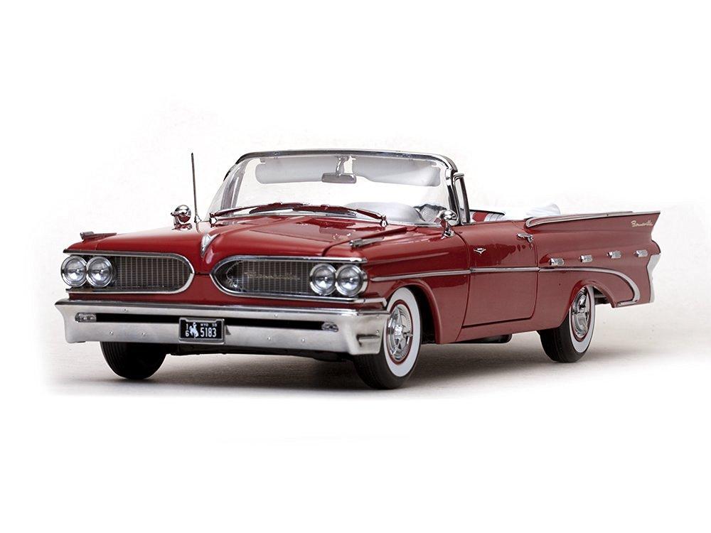 1959 Pontiac Bonneville Open Convertible Mandalay Red Platinum Edition 1/18 by Sunstar 5183