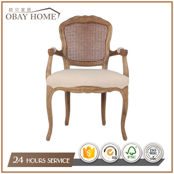 Solid Oak Wood Carved Design Dining Chairs Accent Dining Room Furniture Cane Back Chairs
