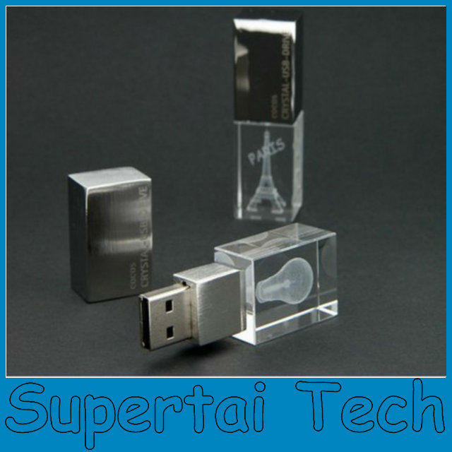 Hot selling fashion design Laser engrave 3D logo <strong>usb</strong> 2.0 acrylic crystal <strong>usb</strong> flash 8gb