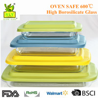 Rectangular borosilicate glass bakeware with pp lid