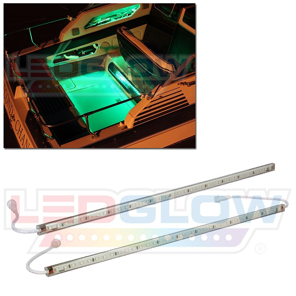 LEDGlow 2pc Green LED Boat Deck and Cabin Lighting Kit - 72 LEDs - Waterproof Connectors and Light Tubes