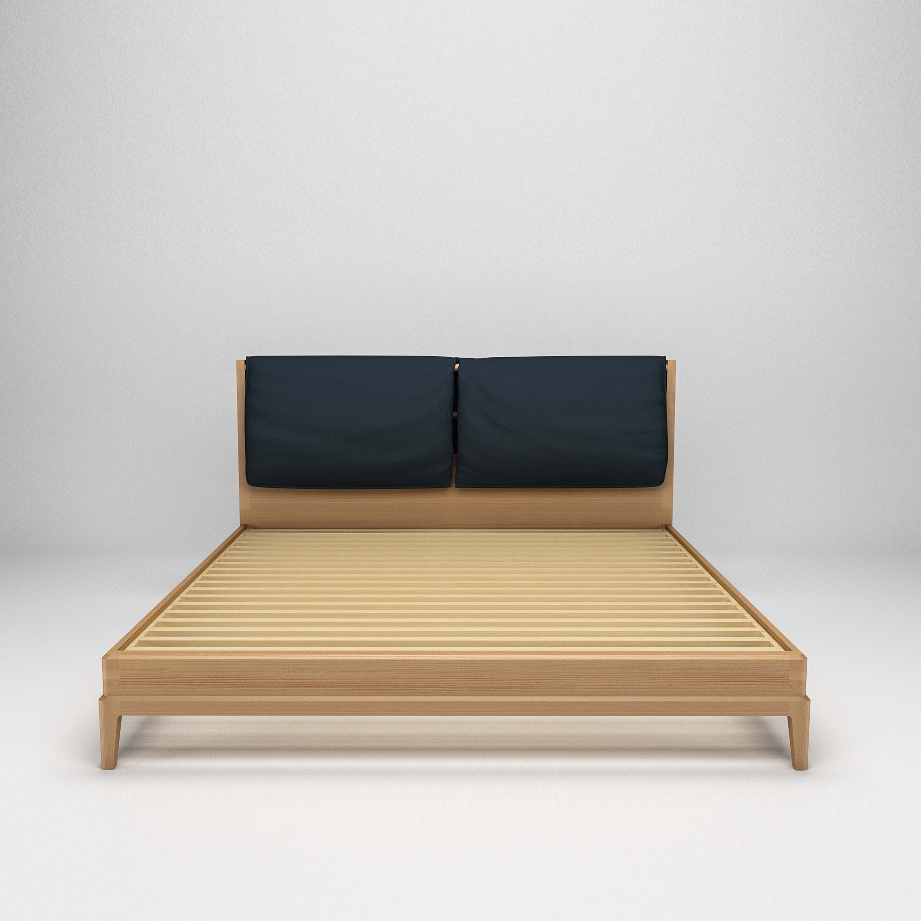 Simple Modern Design Solid Wood Big King Size Double Wooden Bed