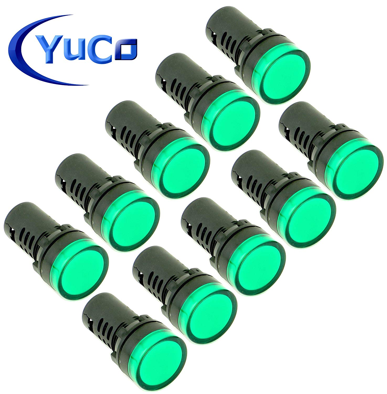 (10) YC-22G-3 Yuco European Standard Tuv Ce Listed 22MM LED Panel Mount Indicator Lamp Green 220/240VAC