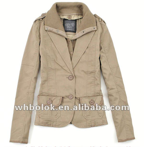 Elegant ladies 100 cotton jacket fashion cargo knitted collar blazer