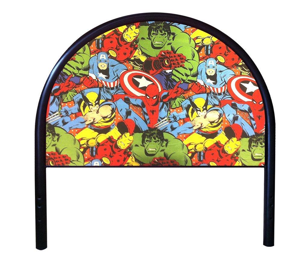 New Twin Size Children's Youth Black Metal Headboard with Custom Avengers Superheros Upholstered Headboard