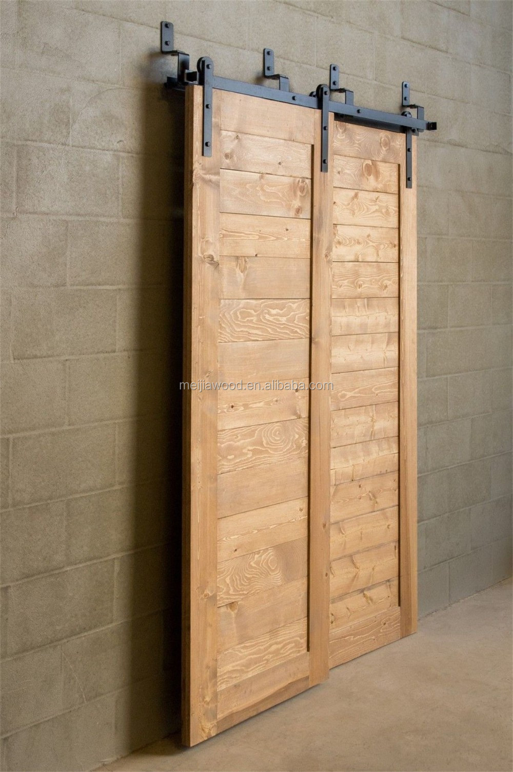Shaker Style Horizontal Plank Varnish Bypass Barn Door And