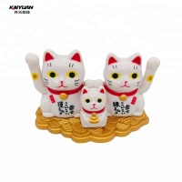 Mini Fortune Cat Three Lucky Cat Solar Toy for Car Decoration
