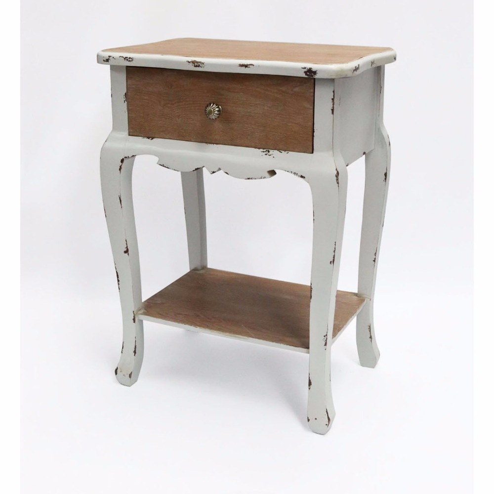 Antique Country French Lovingly painted wooden end table with curvaceous legs