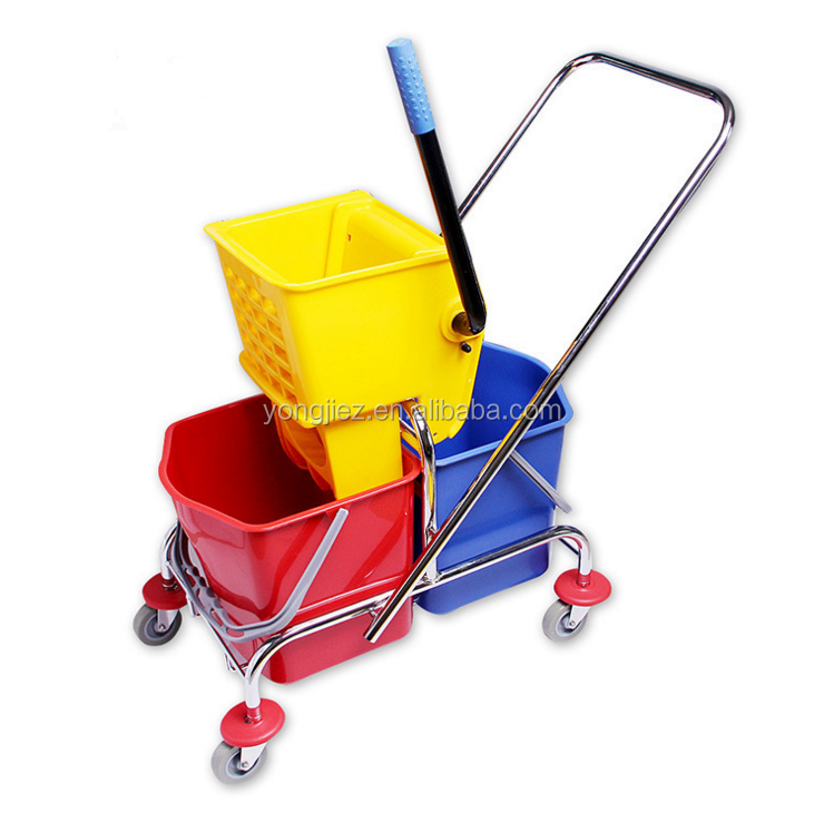 Double mop wringer trolley bucket with wringer