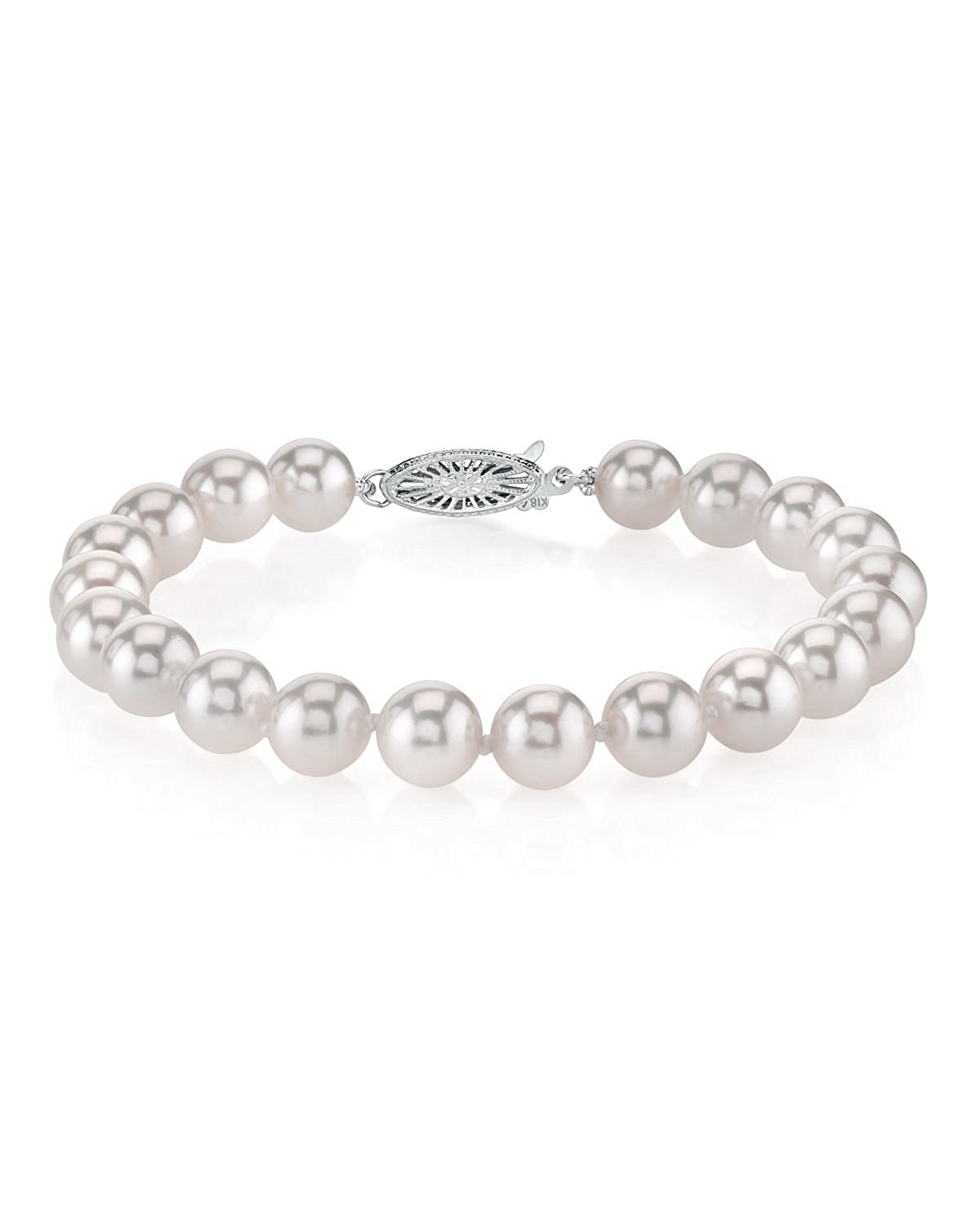 The Pearl Source 18K Gold 6.5-7.0mm Japanese Akoya Saltwater White Cultured Pearl Bracelet
